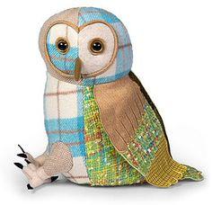 Dora Designs Patchwork Barn Owl - Doorstop A selection of textured patchwork fabric in vibrant colours. Diy Doorstop, Doorstop Pattern, Owl Crafts, Cute Crafts, Owl Door, Owl Cushion, Dora, Textile Sculpture, Patchwork Fabric