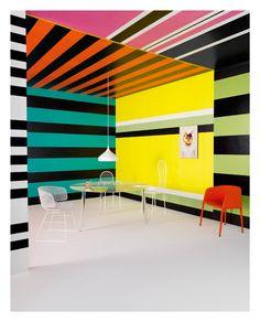 crazy dizzy fun: Candida Zanelli e Daniela De Vito Colour Architecture, Architecture Old, Design Observer, Color Mixing, Color Pop, Prada, Memphis Design, Painted Floors, Cafe Interior