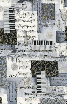 Novelty Cotton Fabric- Classic Music, , hi-res