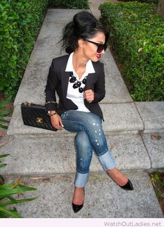 White button up, black blazer, jeans and statement necklace for work