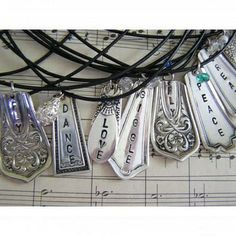 fork/knife handle jewelry with sayings! could make with metal stamps & thrift store utensils by Robins Nest Eggs