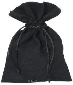 Samtsäckchen groß Schwarz Einfacher Beutel aus weichem Samt mit Kordelzug 110606