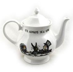Alice In Wonderland  It s Always Tea Time  Fine Porcelain Large Teapot