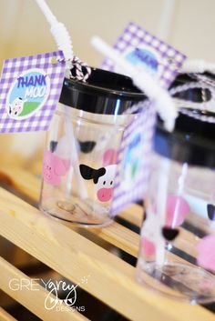 Very cute drinks at a farm party!  See more party ideas at CatchMyParty.com!  #partyideas #farm