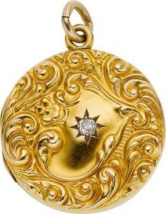 Victorian Diamond, Gold Pendant-Locket  The 14k gold pendant-locket is accented by a mine-cut diamond