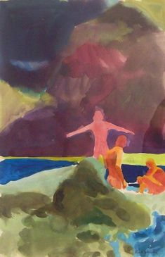 "Paul Wonner - 1962, Bathers,    watercolor on paper    18"" x 12"""