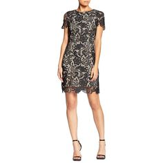 Dress The Population Women's Short-Sleeve Crochet Lace Mini Dress ($198) ❤ liked on Polyvore featuring dresses, black, short sleeve dress, short-sleeve lace dresses, short sheath dress, crochet lace dress and short sleeve sheath dress