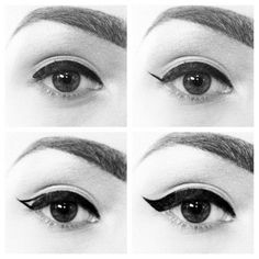 Perfect cat eye. This was the easiest thing to follow and I am terrible at putting eyeliner on!  Granted it took a couple of tries, but I think I am starting to get the hang of it. Also it helps if your eyeliner has a nice smaller tip, that was it's easier to handle and maneuver to make the nice swoosh and crisp lines.
