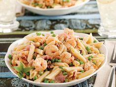 Garlic Shrimp with Pasta, Prosciutto, Walnuts and Peas