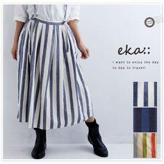 【eka eka:: エーカ】サスペンダー付 コットン ストライプ ロング スカート(1720262)
