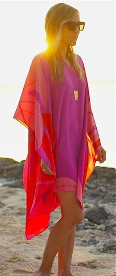 Magenta & Neon red kimono cover up. Resort Wear. Beach coverup. Stitch Fix - 2016