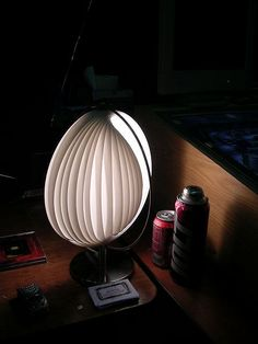 Nautilus lamp made from mini blinds slats. Blind Art, Vinyl Mini Blinds, Lamp Shades, Diy Projects, Class Projects, Lighting Design, Light Colors, Light Up, Repurposed