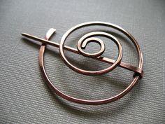 Wandering Circle Copper Penannular Brooch Fibula Scarf by DonnaJs, $18.50