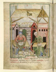 Nouvelle acquisition latine 1673, fol. 58v, Fabrication du fromage frais. Tacuinum sanitatis, Milano or Pavie (Italy), 1390-1400.