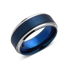 Blue Tungsten Wedding Band - Silver Brushed Tungsten Ring - 8mm - Mens Ring - Tungsten Carbide - Engagement Band - Comfort Fit