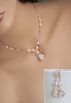 Gold bridal jewelry set - cubic zirconia and pearl necklace set