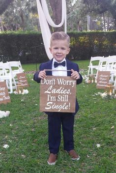 These wood signs are such a cute way to have your ring bearers or flower girls enter and/or exit your wedding ceremony. Each sign measures