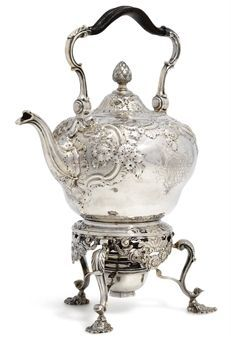 1750 Silver Kettle, Stand and Lamp. By Benjamin Gignac, London, UK. Inverted pear shaped kettle, shoulder repoussé chased with flowers and scrolls on matted ground, overhead leather covered swing handle, hinged cover with flower finial, stand on three rocaille and flower feet, pierced shell and floral garlands, kettle engraved with a coat-of-arms. christies.com suzilove.com