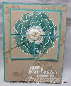 Stampin' up! ... handmade  card ... Crumb Cake with aqua Blendabilites .and white embossing ... Blended Blossom ... split panel design ...