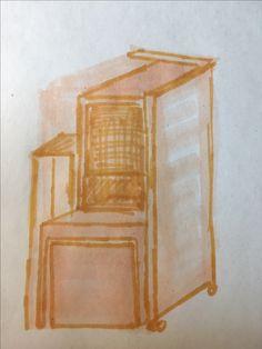 In elkaar geschoven vormt het een soort kubus, beginbeeld.