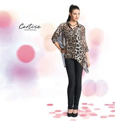 Animal print blouse with Asymmetric hem, Jacquard pant. #fallfashion #musthave #Cartise #women #apparel #coloryourlife www.cartise.ca