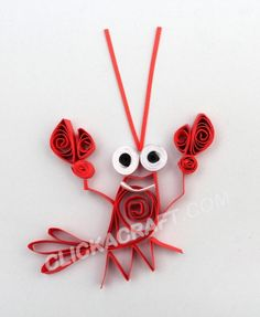 """Quilling Card """"Funny Lobster"""" - Click on image to see step-by-step tutorial."""