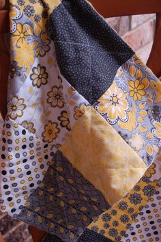 Yellow Gray Black Flower Paisley Security Quilt by craftinjenn, $15.00