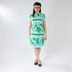 CRAZY CUTE Vintage Dress- Light Blue with Green & White Feathers and Patterns on Etsy, $40.00