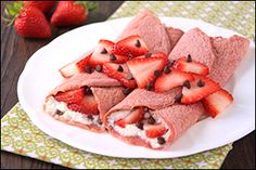 2 NEW recipes for crepes… crammed with protein! Hungry Girl's Strawberry Red Velvet Crepes & Tropical Fruit Crepes! Mmmmmm!