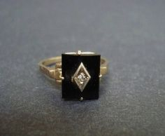 Victorian Gold Ring - Black Onyx - Diamond - Elegant. $399.99, via Etsy. Big Jewelry, Black Jewelry, Vintage Jewelry, Jewellery, Nana Ring, Black Rings, Gold Rings, Victorian Gold, Pretty Rings