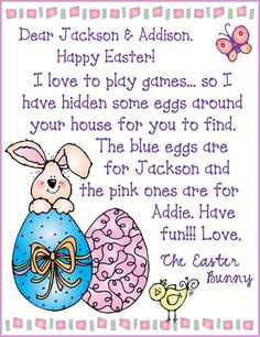 free easter printables notes from the easter bunny craft ideas