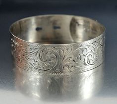 Victorian Engraved Sterling Silver Bangle Bracelet  Vintage Antique Jewelry