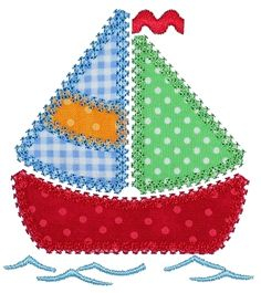 GG Designs Embroidery - Patchwork Sail Boat Applique (Powered by CubeCart) Free Applique Patterns, Applique Templates, Sewing Appliques, Quilt Patterns, Free Pattern, Owl Templates, Applique Ideas, Dress Patterns, Crochet Patterns