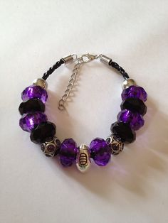 "Baltimore Ravens Football Inspired Beaded Leather Adjustable Bracelet with Silver Tone Football & Rhinestone Beads 7""-9"""