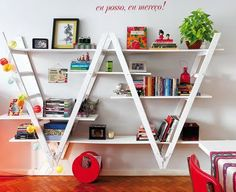 upside down ladders as bookshelves