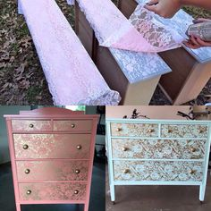 16 Creative painting ideas for your furniture - Dekoration Ideen 2019 Lace Painted Furniture, Refurbished Furniture, Paint Furniture, Repurposed Furniture, Furniture Projects, Furniture Makeover, Home Furniture, Furniture Design, Antique Furniture