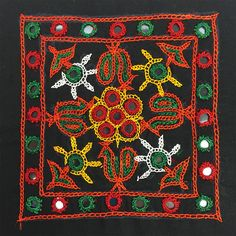 Rabari Embroidery - Mirror work with floral design from Rabari Tribe, Kutch. Cushion Embroidery, Embroidery Motifs, Indian Embroidery, Hand Embroidery Designs, Beaded Embroidery, Vintage Embroidery, Kutch Work Designs, Macrame Wall Hanging Diy, Mirror Work