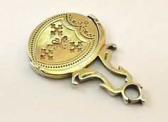 c1810, ANTIQUE EARLY 19thC GEORGIAN SILVER GILT SPINNING FOB SEAL PENDANT, JW