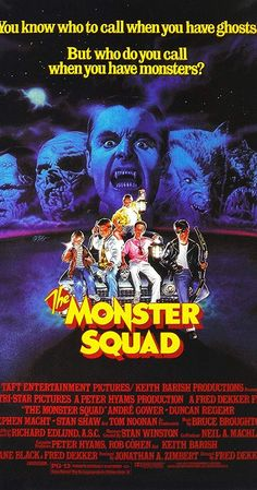 The Monster Squad - 1987 - Directed by Fred Dekker. With Andre Gower, Robby Kiger, Stephen Macht, Duncan Regehr. A young group of monster fanatics attempt to save their hometown from Count Dracula and his monsters. Horror Movie Posters, Classic Movie Posters, Horror Films, Classic Cartoons, Horror Art, Film Posters, Gremlins, 80s Movies, Good Movies