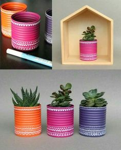 Inspiration Crafting & DIY Konservendosen als Blumentopf How To Choose Fine Linens For Your Home Art Tin Can Crafts, Diy And Crafts, Arts And Crafts, Recycle Cans, Reuse, Creation Deco, Ideas Geniales, Painted Pots, Painted Tin Cans