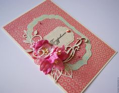 """Купить Открытка """"Поздравляю"""" - коралловый, Открытка ручной работы, открытка, открытка на день рождения"""