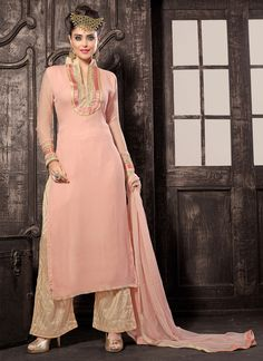 Peach Georgette Palazzo Suit