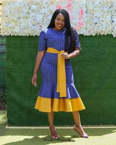 Classy Fashion Tips Beautiful Shweshwe Dress Designs Fashion Tips Beautiful Shweshwe Dress Designs 2020 Latest African Fashion Dresses, African Dresses For Women, African Print Dresses, African Print Fashion, African Attire, African Shirts, African Clothes, South African Traditional Dresses, Long Sleeve Mermaid Dress