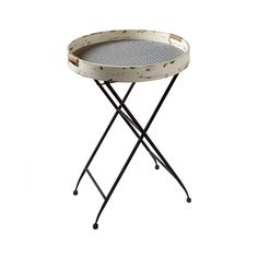 Celebrate the aesthetic of rustic beauty with this Southampton Tray Table. You'll love the quaint look of a wooden tray finished in soft cream with heavy distressing and perching over a retro-inspired ...  Find the Southampton Tray Table, as seen in the A Luxury Camping Retreat Collection at http://dotandbo.com/collections/a-luxury-camping-retreat?utm_source=pinterest&utm_medium=organic&db_sku=101536