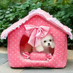 cotton pet nest Bowknot lace pink blue  dog bed teddy dog houses kennels pens - Dog Shoes And Dog Booties