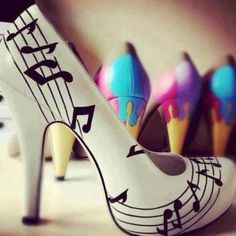 Cute, music note shoes