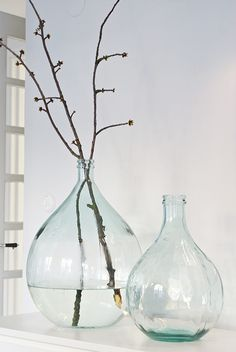 Vases and branches Bottles And Jars, Glass Bottles, Valspar Colors, Design Jardin, Glass Collection, Feng Shui, Interior Inspiration, Sweet Home, House Design