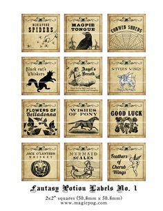 Antique Fantasy Potion Labels - for sale on etsy