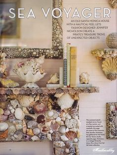 Got lots of shells? How about creating an amazing shell mosaic for your fireplace? Here are 8 stunning unique shell mosaic fireplace ideas t. Seashell Art, Seashell Crafts, Beach Crafts, Seashell Bathroom, Mosaic Fireplace, Fireplace Mirror, Fireplace Surrounds, Fireplace Ideas, Fireplace Design