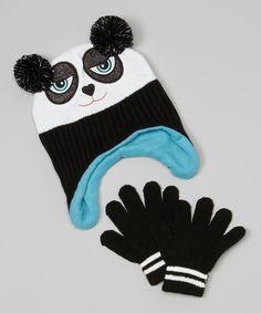 99f4be00f5b Polar Wear Black Panda Earflap Beanie   Gloves